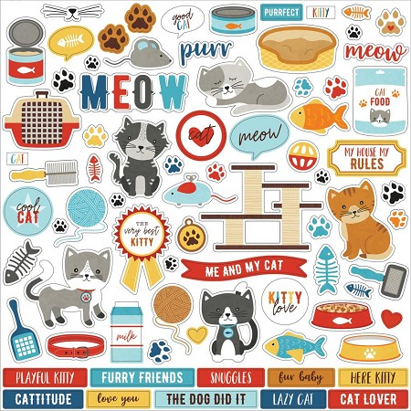 "Echo Park - I Love My Cat Collection 12""x12"" Elements Sticker Sheet"