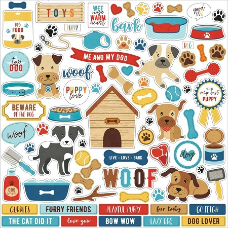 "Echo Park - I Love My Dog Collection 12""x12"" Elements Sticker Sheet"