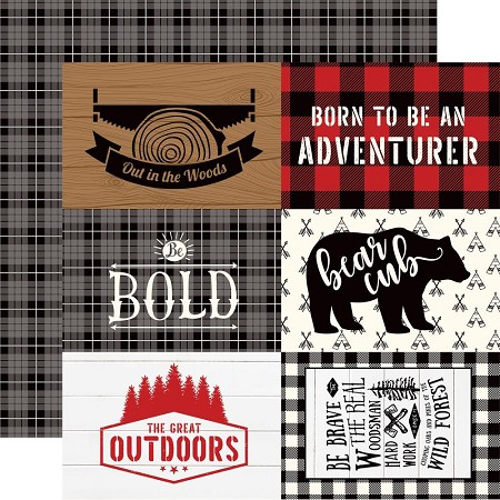 "Echo Park - Little Lumberjack Collection - 4""X6"" Journaling Cards 12""x12"" Cardstock"