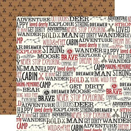 "Echo Park - Little Lumberjack Collection - Wander Words 12""x12"" Cardstock"