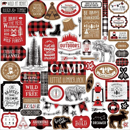 "Echo Park - Little Lumberjack Collection 12""x12"" Elements Sticker Sheet"