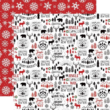 "Echo Park - A Lumberjack Christmas Collection - Mountain Christmas 12""x12"" Cardstock"