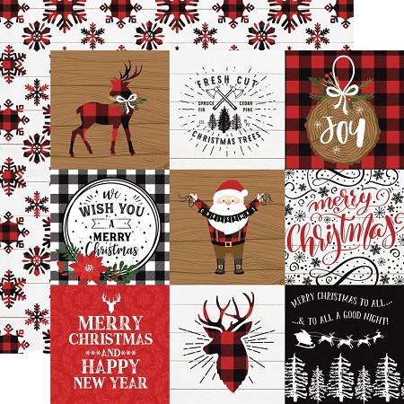"Echo Park - A Lumberjack Christmas Collection - 4""x4"" Journaling Cards 12""x12"" Cardstock"
