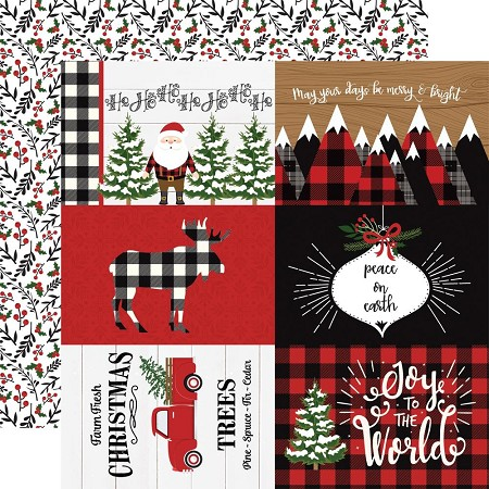 "Echo Park - A Lumberjack Christmas Collection - 4""x6"" Journaling Cards 12""x12"" Cardstock"