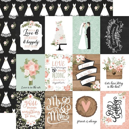 "Echo Park - Our Wedding Collection - 3""X4"" Journaling Cards 12""x12"" Cardstock"
