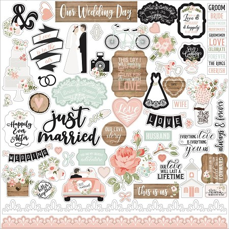 "Echo Park - Our Wedding Collection - 12""x12"" Elements sticker sheet"