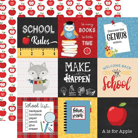 "Echo Park - School Rules Collection - 4""X4"" Journaling Cards 12""x12"" Cardstock"