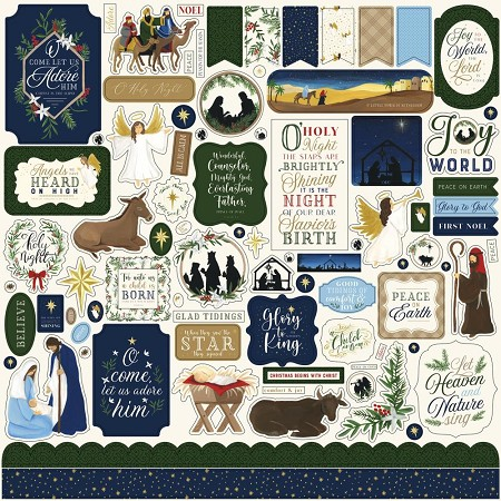 "Echo Park - Silent Night Collection - 12""x12"" Cardstock Element Stickers"
