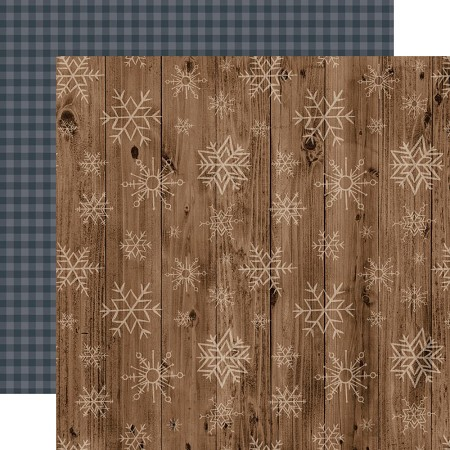 "Echo Park - Warm & Cozy Collection - Wooden Snowflakes 12""x12"" Cardstock"
