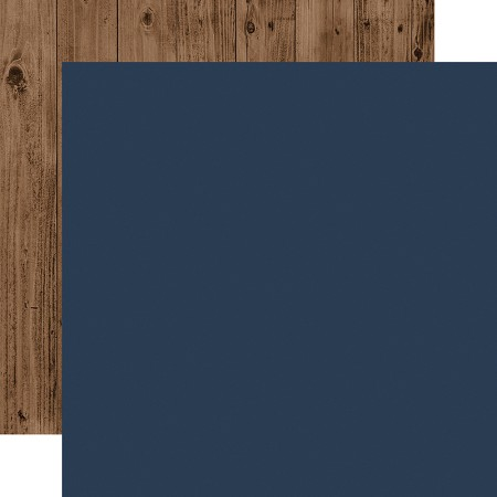 "Echo Park - Warm & Cozy Collection - Dark Blue/Woodgrain 12""x12"" Cardstock"