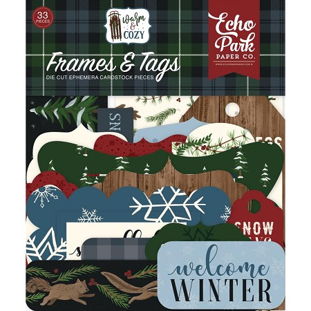 Echo Park - Warm & Cozy Collection - Die Cut Tags & Frames