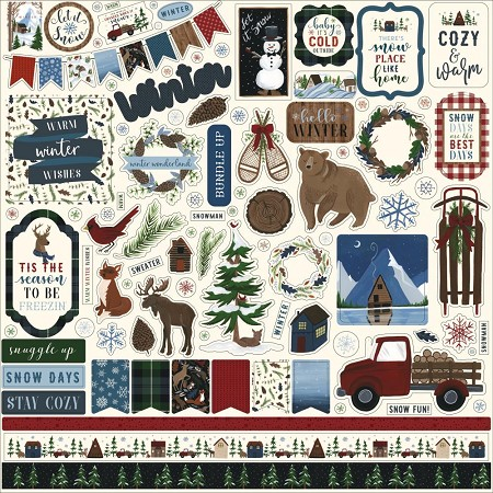 "Echo Park - Warm & Cozy Collection 12""x12"" Elements Sticker Sheet"