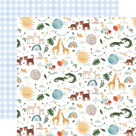 "Echo Park - Welcome Baby Boy Collection - Animals 12""x12"" Cardstock"