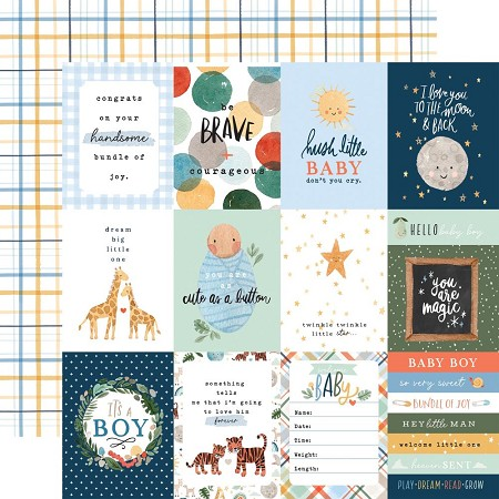 "Echo Park - Welcome Baby Boy Collection - 3""X4"" Journaling Cards 12""x12"" Cardstock"