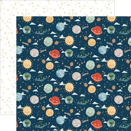 "Echo Park - Welcome Baby Boy Collection - Planets 12""x12"" Cardstock"