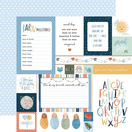 "Echo Park - Welcome Baby Boy Collection - Multi Journaling Cards 12""x12"" Cardstock"