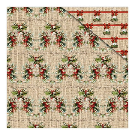 "Fab Scraps - Christmas Memories Collection - 12""x12"" Double Sided Cardstock - Christmas Holly"