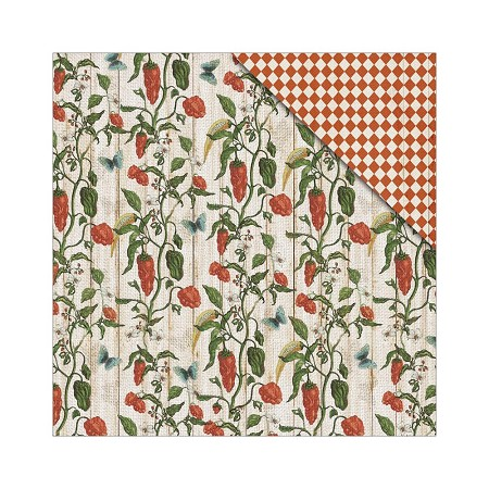 "Fab Scraps - Country Kitchen Collection - 12""x12"" Double Sided Cardstock - Hot Chili"