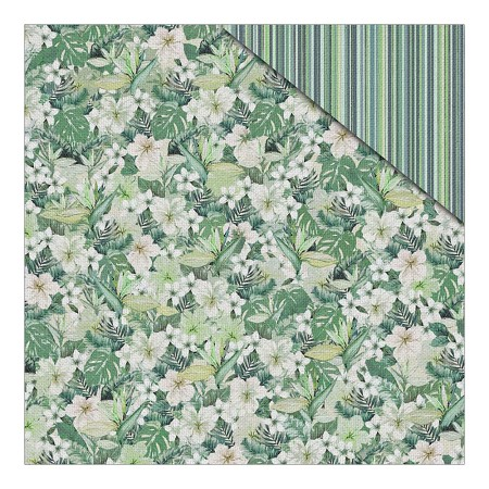 "Fab Scraps - Jungle Mist Collection - 12""x12"" Double Sided Cardstock - Jungle Flowers"