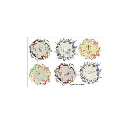 "Fab Scraps - Serenity Collection - Circular Word Stickers (3.77"" x 5.5"")"