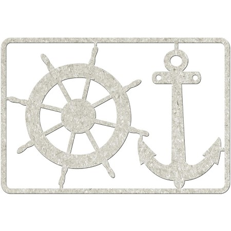 Fab Scraps - Beach Affair Collection - Chipboard Die Cuts - Wheel & Anchor