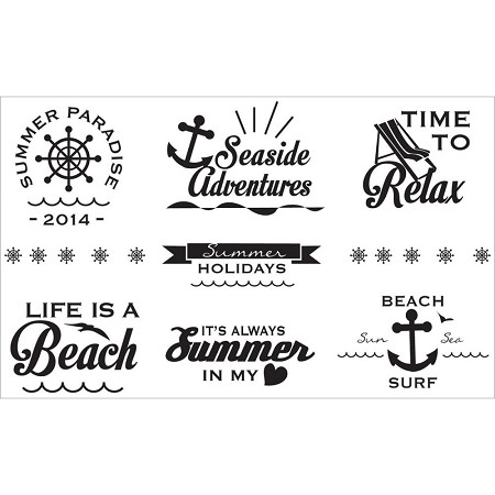 "Fab Scraps - Beach Affair Collection - Small Vinyl Stickers (3.75"" x 5.5"")"
