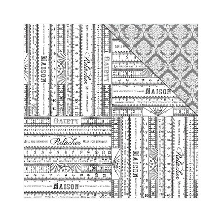 "Fab Scraps - Tranquility Collection - 12""x12"" Double Sided Cardstock - French Rulers"