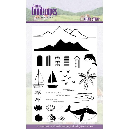 Find It Trading - Jeanine's Art Clear Stamp - Spring Landscapes Beach