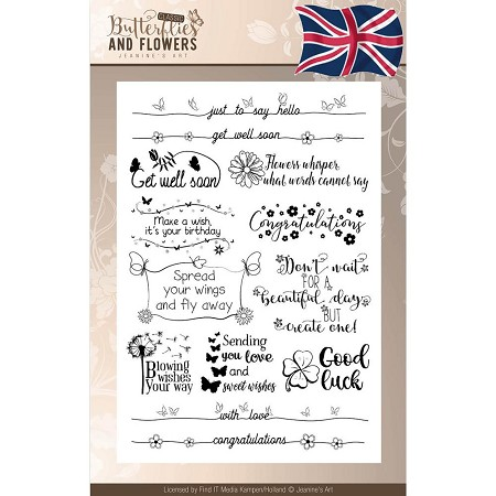 Find It Trading - Jeanine's Art Clear Stamps - Classic Butterflies & Flowers Text