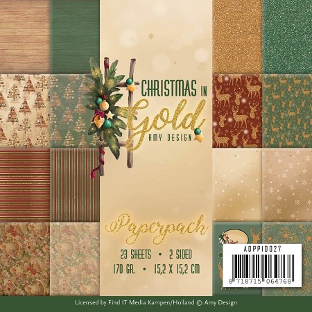 "Find It Trading - Precious Marieke - Christmas In Gold Christmas 6""x6"" Paper Pad"