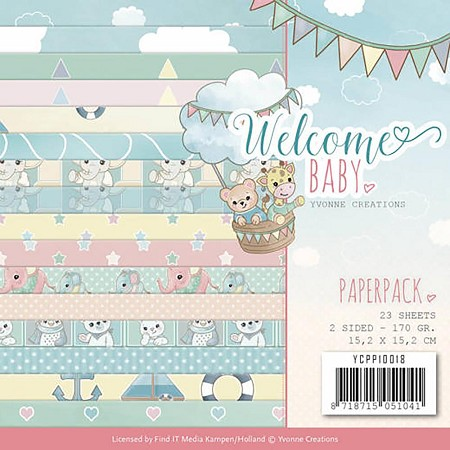 "Find It Trading - Yvonne Creations - Welcome Baby 6""x6"" Paper Pad"