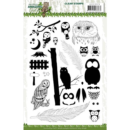 Find It Trading - Amy Design Clear Stamps - Amazing Owls