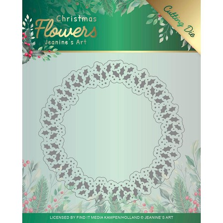 Find It Trading - Jeanine's Art Die - Christmas Flowers Holly Christmas Wreath