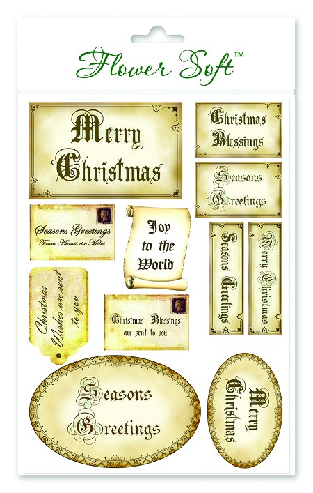 Christmas Sentiments For Cards.Flower Soft Card Topper Vintage Christmas Sentiments