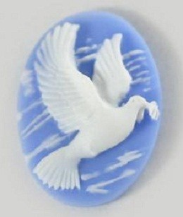Frantic Stamper - Resin Cameos -White Dove on Blue Oval - Package of 5
