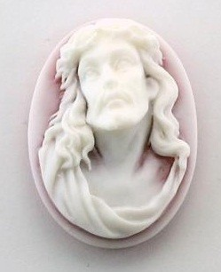Frantic Stamper - Resin Cameos - White Crown Of Thorns on Ruby Oval - Package of 5