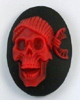 Frantic Stamper - Resin Cameos -Red Laugh Skull on Black Oval - Package of 5