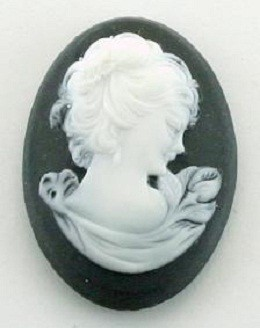Frantic Stamper - Resin Cameos - White Woman on Black Oval - Package of 5