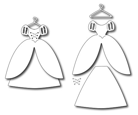 Frantic Stamper Precision Die - Princess Dress (set of 4 dies)