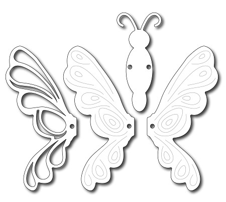 Frantic Stamper - Precision Dies - Moveable Flutterby (set of 4)