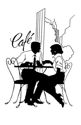 Frantic Stamper Cling-Mounted Rubber Stamp - Cafe' Couple