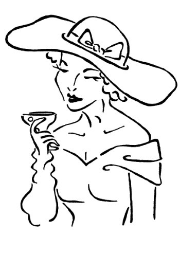 Frantic Stamper Cling-Mounted Rubber Stamp - Drinking Lady