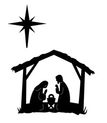 Frantic Stamper Cling-Mounted Rubber Stamp - Born in a Manger