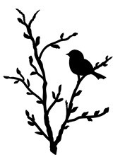Frantic Stamper Cling-Mounted Rubber Stamp - Bird on branch