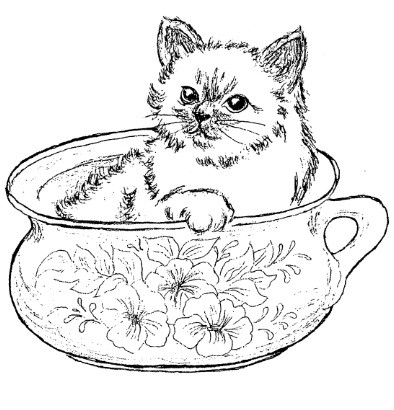 Frantic Stamper Cling-Mounted Rubber Stamp - Kitten in Bowl