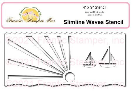 Frantic Stamper Slimline Waves Stencil