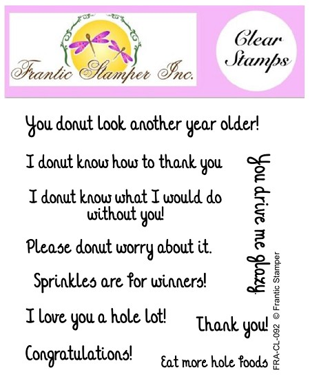 Frantic Stamper Clear Stamp Set - Donut Sentiments