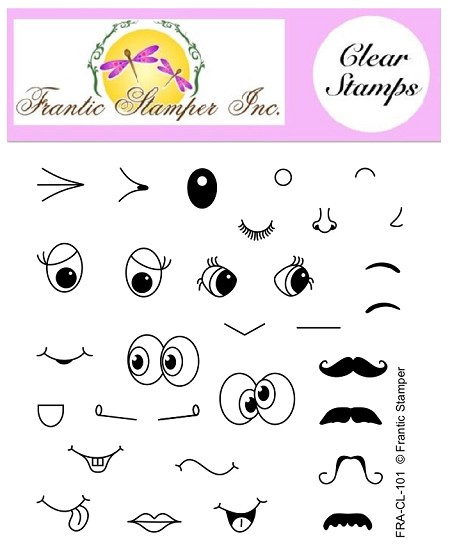 Frantic Stamper Clear Stamp Set - Face Maker Stamps
