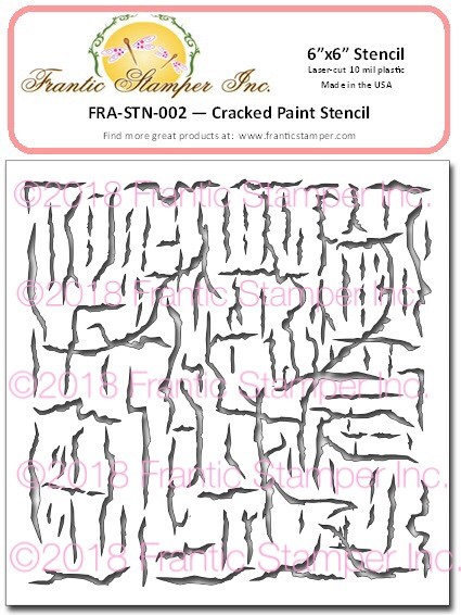"Frantic Stamper - 6""x6"" Stencil - Cracked Paint"