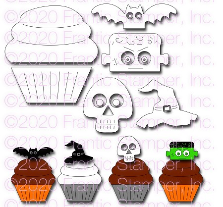 Frantic Stamper Precision Die - Cupcake and Halloween Toppers #1